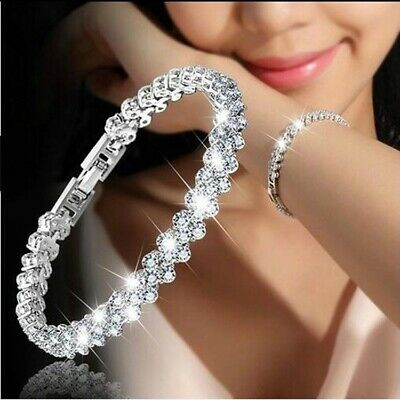 Hot Fashion Women Lady Silver Plated Crystal Chain Charm Bracelet Bangle Jewelry