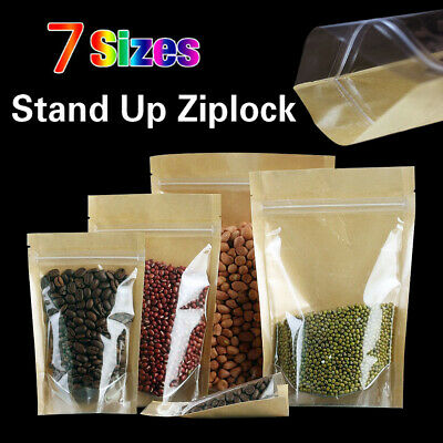Clear Brown Kraft Paper Stand Up Zip Lock Bag Food Tea Storage Resealable Pouch