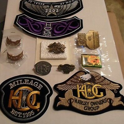 Harley Davidson Motorcycles  HOG Collectable Set 7 Pins and 4 Patches