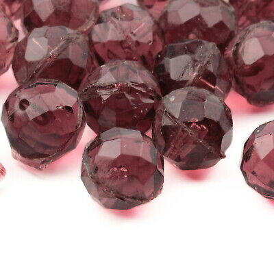Lot (25) vintage Deco Czech cranberry pink faceted glass beads unfinished 13mm