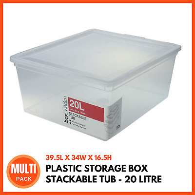 PLASTIC STORAGE BOX WITH LIDS 20L | Stackable Boxes Storage Containers Tubs Bins
