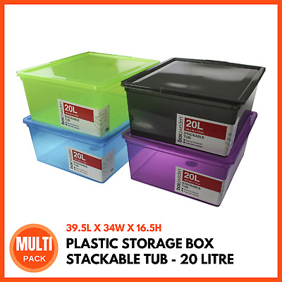 PLASTIC STORAGE BOX WITH LIDS 20L | Stackable Boxes Storage Tubs Bins Containers