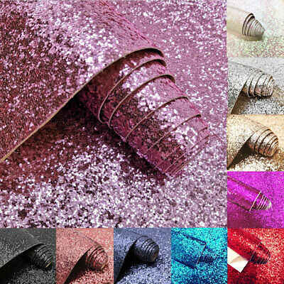 A4 Sheets Chunky Glitter Fabric Self Adhesive Wallpaper Sparkly Sticker Craft