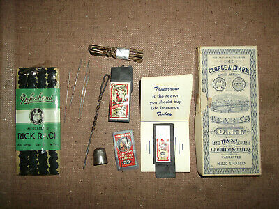 Collectible Vintage Lot Of Sewing Items - Needles, Thimble, Thread Box