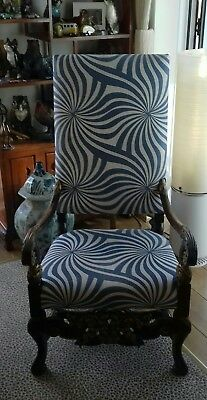 Antique/Period Throne Chair C.1790 Stunning. Austin Powers Inf. Upholstery.