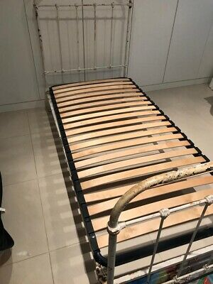 Vintage French Cast Iron Single bed with Slats. Shabby Chic.