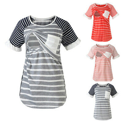 Women Pregnant Maternity Casual Nursing Tops Breastfeeding Shirt Blouse T-Shirt