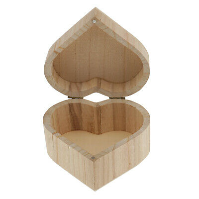 Heart Shape Unfinished Wooden Jewelry Gifts Box Wood for Kids DIY Craft Toys