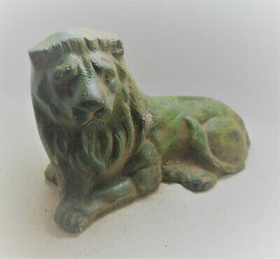 Scarce Ancient Roman Legionary Lion Figurine Seated Lion Very Rare 300-400Ad