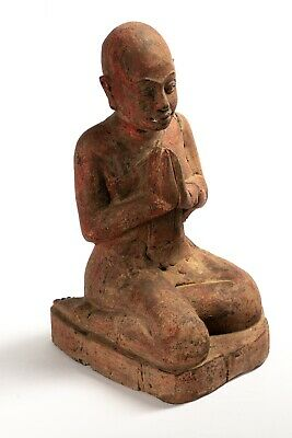 19th Century Antique Khmer Wood Devotee Disciple of Buddha Statue - 33cm/13""