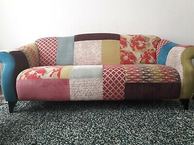 Dfs Shout 3 Seater Patchwork Sofa Gravesend Pink Green Purple Settee Couch