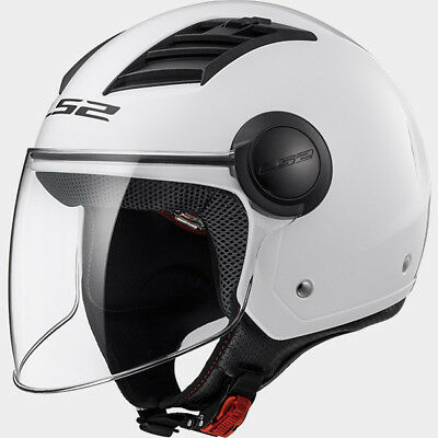 Casco Jet Ls2 Of562 Airflow Solid Bianco Lucido Interno Removibile Prese D'aria