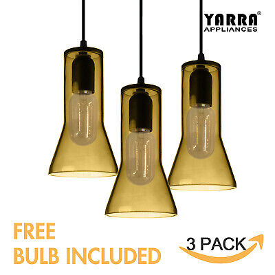Multi-Pack Color Pendant Ceiling Light  Dining Room Lamp Red Yellow Smoke Glass