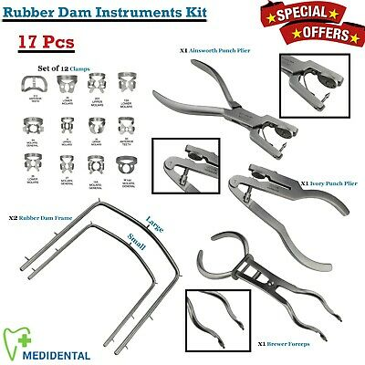 Restorative Rubber Dam Instruments Kit 17-PCs Laboratory Surgical Endodontics CE