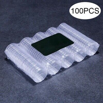 100pcs 27/30mm Clear Plastic Round Case Coin Storage Capsules Holder Box