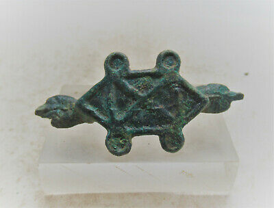 Circa 300-400Ad Ancient Roman Era Imperial Bronze Plate Type Brooch Animal Heads