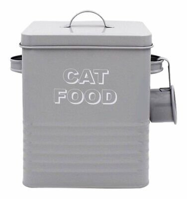 Grey Cat Food Metal Storage Box Tin With Scoop Ideal For Dry Food Biscuits