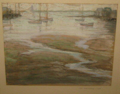 Vintage 1926 Helen Reed Whitney 'NANTUCKET HARBOR' Arts & Crafts Pastel Painting