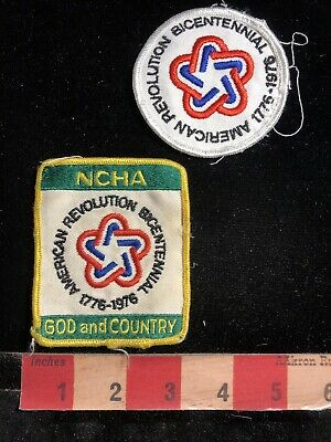 Vtg 1970s AMERICAN REVOLUTION BICENTENNIAL NCHA God & Country 2 Patch Lot 95ME