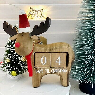 Rudi Reindeer Days Until Christmas Decoration Countdown Advent Calendar Block