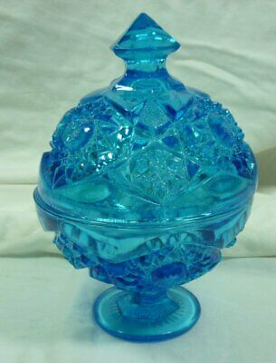 Vintage Turquoise Ball Shaped Pedestal Candy Dish / Compote with Lid 19F029
