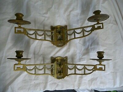 Antique Pair Edwardian Twin Candle Holder Sconces Gilt Brass Wall Mounted Old