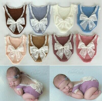 Newborn Baby Girl Lace Bow Crochet Romper Bodysuit Outfit Photo Props Costume