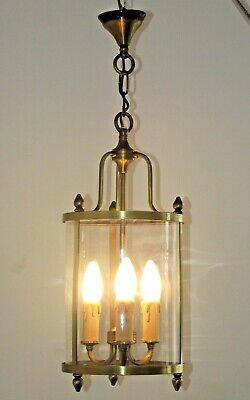 Large Antique French Round Glass & Brass 3 Light Hall Lantern Chain & Rose 1360