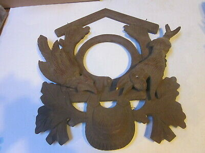 Antique Large Black Forest Cuckoo Clock Wood Front Case Rabbit Bird Horn Pouch