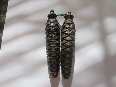 Vintage Black Forest Cuckoo Clock Cast Iron Pine Cone Weights 11.8 & 11.5 Ounces