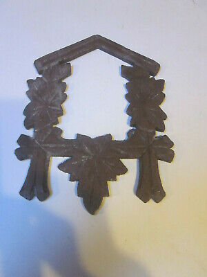 Vintage Black Forest Cuckoo Clock Wood Small Front Case Frame Leaves