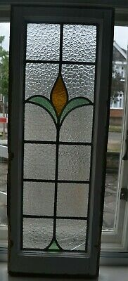 Frame 341 x 960mm. Stained glass leaded light window sash. S947.