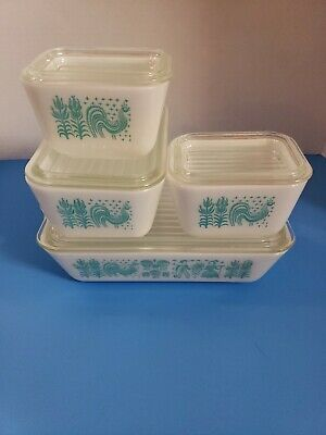 Vintage Pyrex Amish Butterprint Refrigerator Dishes 8 pc set Mint Cond