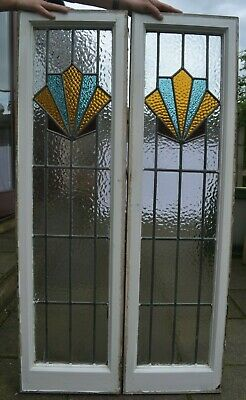 Frame 336mm x 1208mm. 2 art deco stained glass leaded light window sashes. R946