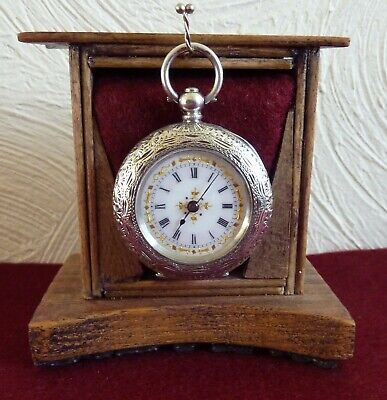 Lovely Antique 35mm Solid Silver Swiss Ladies Pocket Watch C1900 Working Well