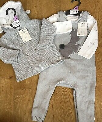 Mothercare Peter Rabbit Grey Knitted Cardigan & Knitted Dungarees Set 6-9 Mths