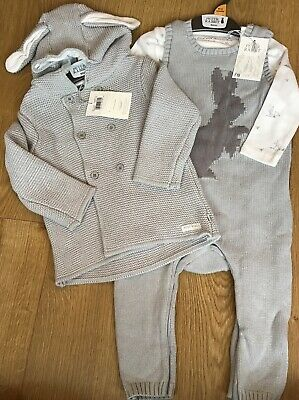 Mothercare Peter Rabbit Grey Knitted Cardigan & Knitted Dungarees Set 9-12 Mths