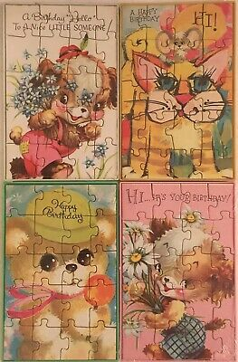 Vintage Mail-A-Puzzle Happy Birthday Postcards / lot of 4 / unused