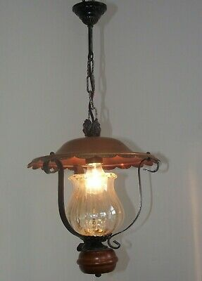 Vintage French Country Lantern Wrought Iron Frame Glass Shade Copper Canopy 1275