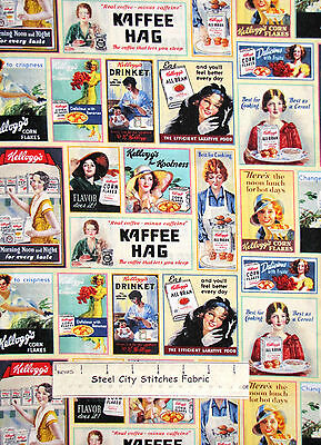 Fabric With Kellogg's ® Cereal Ladies & Ads Cotton Fabric Springs CP56091 YARD