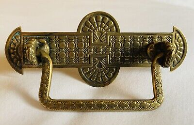 "Brass Art Nouveau Victorian Eastlake Antique Hardware Drawer Pull 2 3/4"" Mounts"