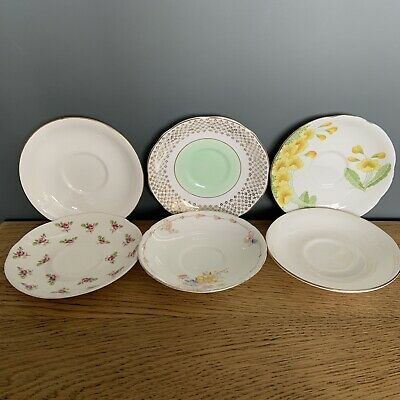 6 X Vintage Mismatch Afternoon Tea Saucers Plates English Fine Bone China Floral