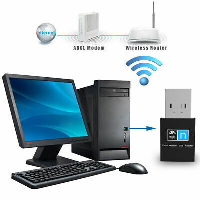 300Mbps Mini USB Wireless WiFi Dongle Adapter for PC Laptop LAN Network 2.4GHz