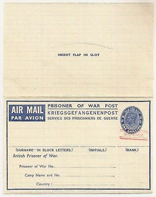 1944 KGVI Prisoner of War 1s letter sheet - immaculate mint SIXPENCE overprinted