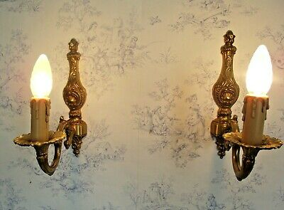 Pair Vintage Italian Traditional Style Brass & Bronze Single Wall Sconces 1298