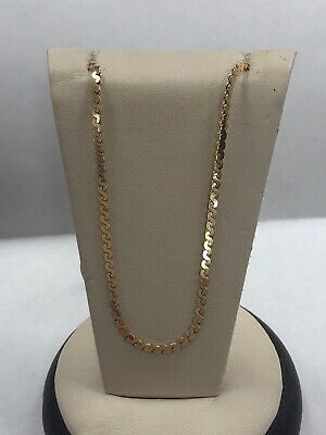 """Beautiful 14KT Yellow Gold Designer Swirl Chain Necklace 16"""" Long / 2 MM Wide"""