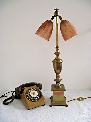 Stylish French Vintage Brown Mottled  Art Glass & Brass Double Table Lamp 554