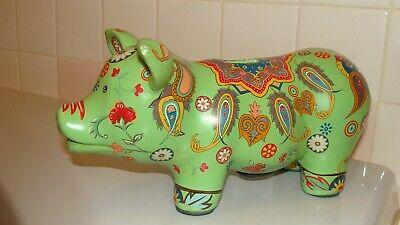 "Vintage Unique  Ceramic/Clay Colorful Unique PIG Piggy Bank Figurine 10.5"" long"