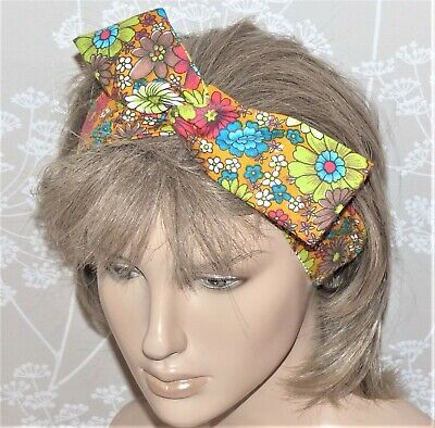 VINTAGE RETRO 70s GREEN FLORAL COTTON BENDY WIRED HAIR WRAP SCARF HEADBAND E180