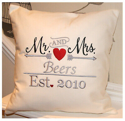 Personalised Mr & Mrs Cushion - Hand Crafted